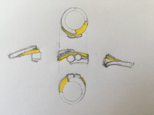 Drawings of a two tone custom ring