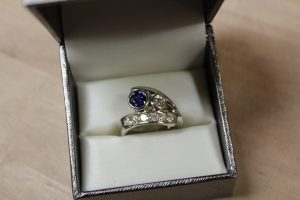 Finished custom designed ring in a ring box