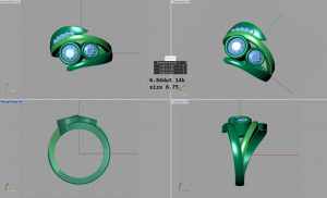 CAD Drawing of a custom designed ring